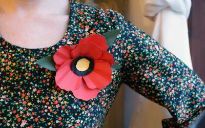 Broches con flores de papel: rosa, amapola y orquídea paso a paso