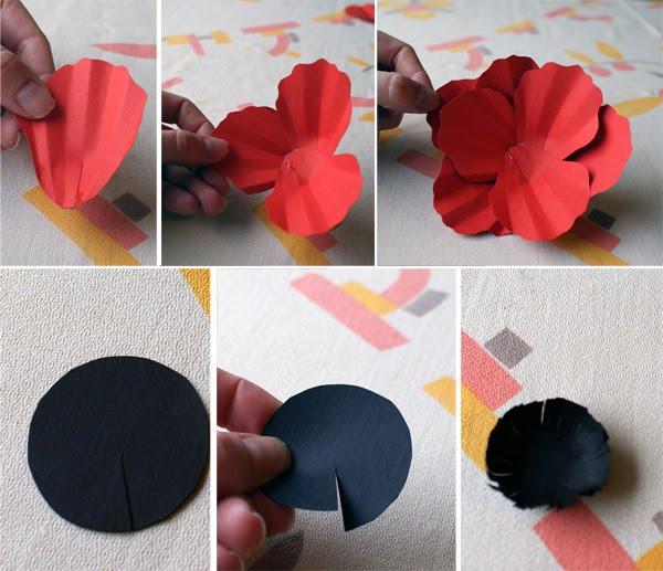 Cómo hacer amapola de papel para broche paso 2