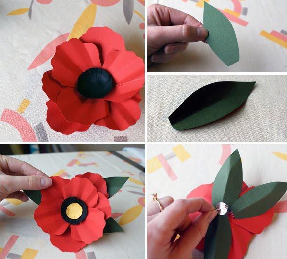 Cómo hacer amapola de papel para broche paso 3