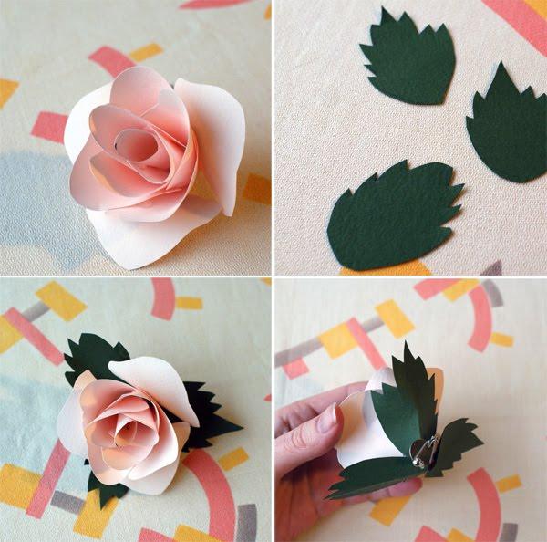 Cómo hacer rosa de papel para broche paso 2