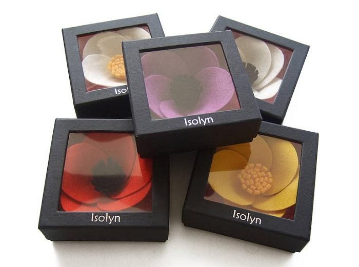 Packaging para broches de fieltro, cajas bonitas