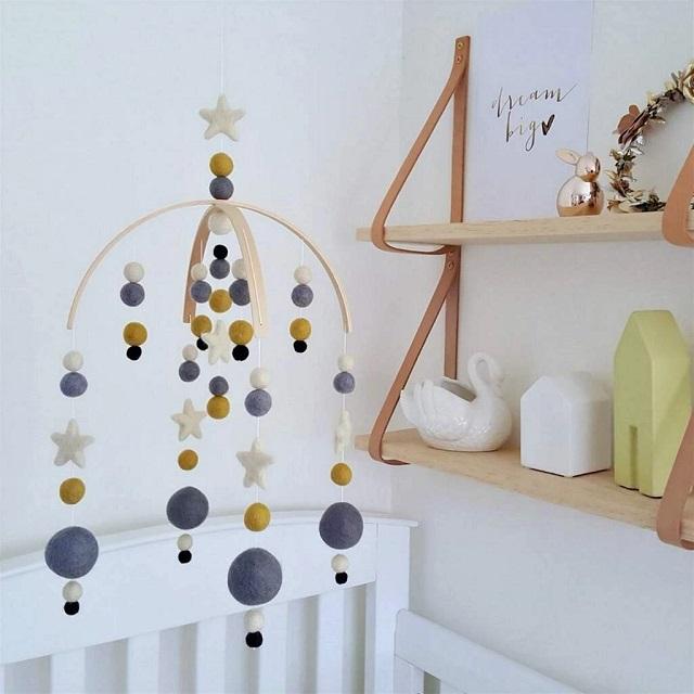 Móvil de fieltro para cuna de bebé, diseño moderno
