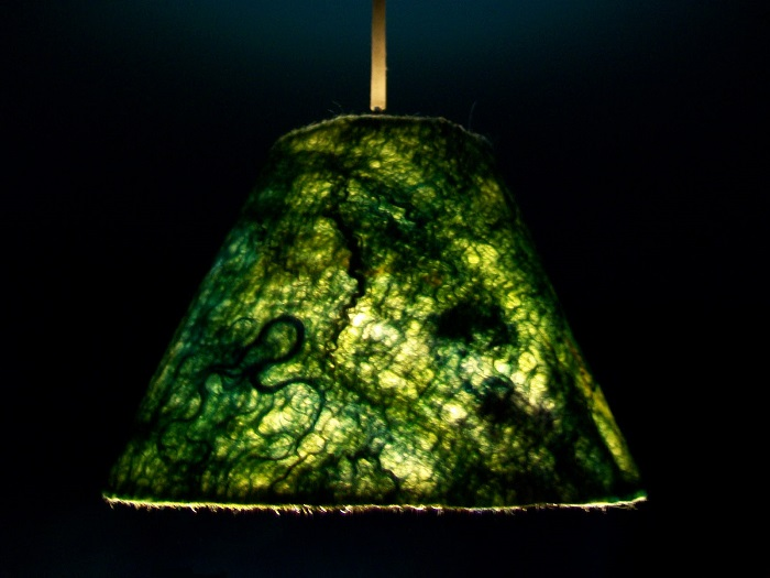Pantalla de lámpara de fieltro verde