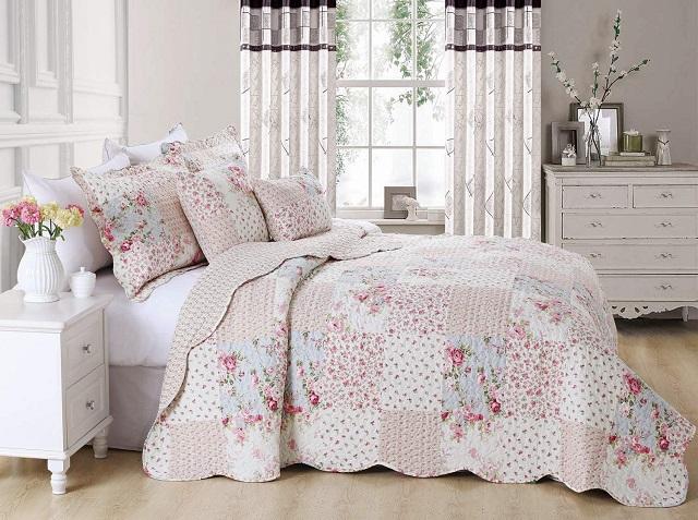Colcha de patchwork flores rosas