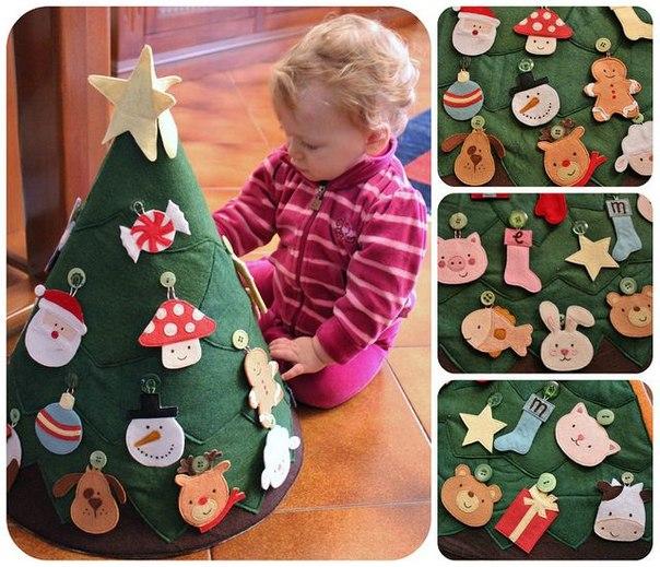 Árbol de Navidad de fieltro DIY con un cono