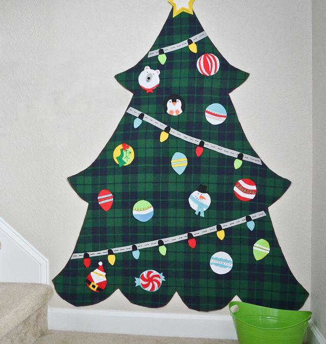 Árbol de Navidad de franela y fieltro DIY